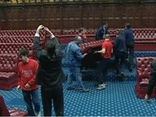 Renovations in the House of Lords chamber