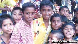 Oli (yellow shirt) with other children