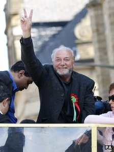 George Galloway celebrates his victory in the Bradford West by-election