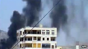 Screengrab of video purportedly showing smoke rising from Syrian city of Hama (23 April 2012)