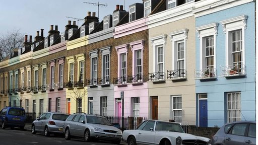 Pastel coloured terrace houses