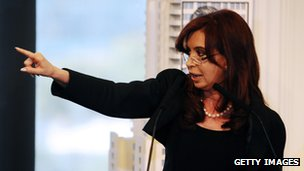 Argentine President Cristina Fernandez de Kirchner announces that oil company YPF, controlled by Spain's Repsol, is subject to expropriation and that a bill being introduced would give the state a 51% share