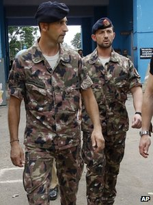 The Italian marines at the prison in Kerala on Sunday 22 April 2012