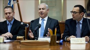 Benjamin Netanyahu at the weekly Israeli Cabinet meeting on 22 April
