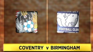Coventry v Birmingham football match graphic