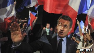 Nicolas Sarkozy at a rally