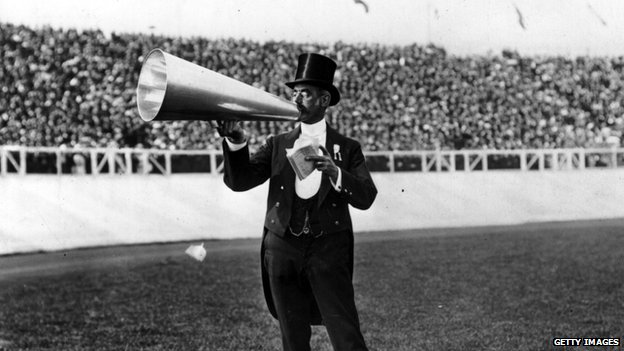London Toastmaster William Knightsmith using a megaphone at the 1908 London Olympics