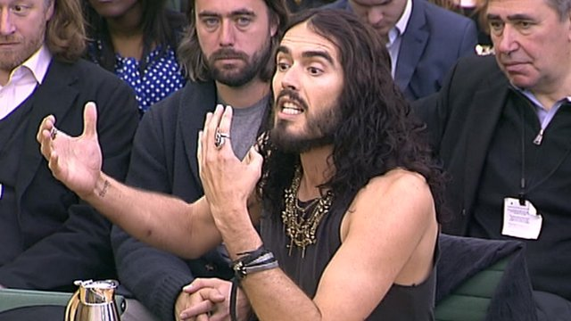 Russell Brand addressing the Home Affairs Select Committee