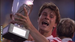 Brian Laudrup lifts the European Championship trophy