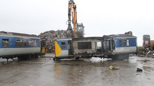 End of the line: scrapping the old 450 trains: Pic: Chris Playfair