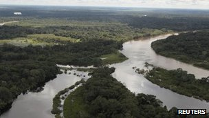 An aerial view shows rivers converging in the Isiboro Secure indigenous territory and national park (Tipnis) in Beni 19 April 2012