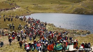 Protest in Cajamarca in Peru against gold mining project (November 2011)
