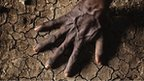Hand on parched ground
