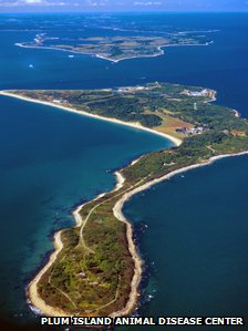 An aerial view of Plum Island Animal Disease Center