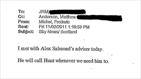 Email evidence to Leveson inquiry