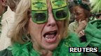 Woman celebrating St Patrick's Day in New York