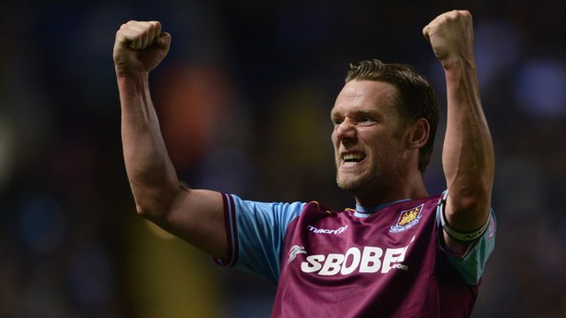Kevin Nolan celebrates West Ham's victory over Leicester