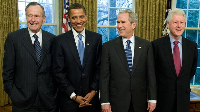 Presidents George H W Bush, Obama, George W Bush and Clinton