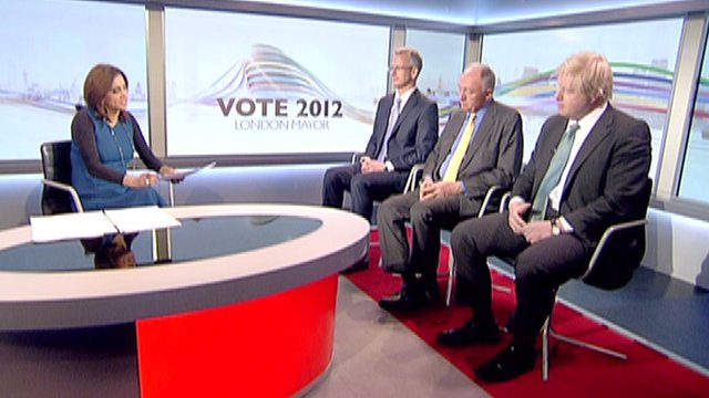 BBC's Riz Lateef with Brian Paddick, Ken Livingstone and Boris Johnson