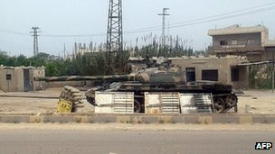 Syrian army tank at checkpoint in Hama - 14 April - handout from Hama Revolution Council