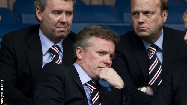 Rangers owner Craig Whyte flanked by Gary Withey and Phil Betts