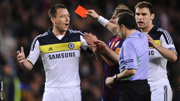 John Terry was sent off for the first time since April 2010