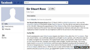 Sir Stuart Rose Facebook page