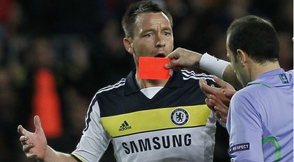 John Terry being shown a red card by referee