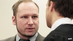 Anders Behring Breivik, in court in Oslo, 25 April