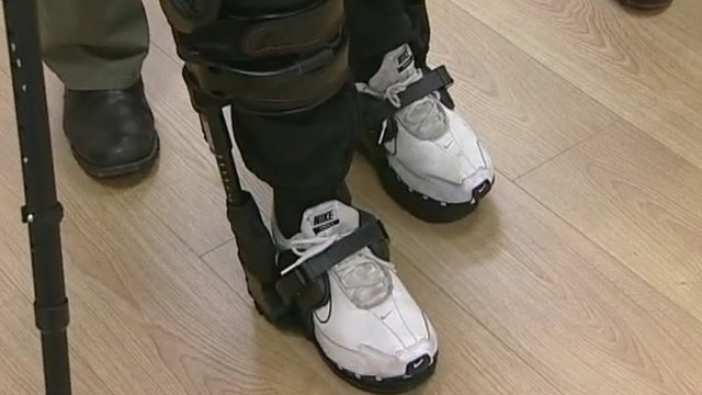 Crash victim walking in bionic suit