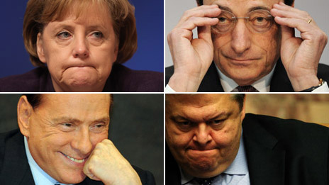 European politicians and banker Mario Draghi