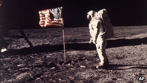 Buzz Aldrin on the moon on 20 July 1969