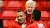 Barnsley's Craig Davies celebrates with team-mates David Perkins and Ricardo Vaz Te after scoring against Bristol City.