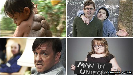 Clockwise from top left: Turtle Boy, Extreme Love, The Undateables, Derek