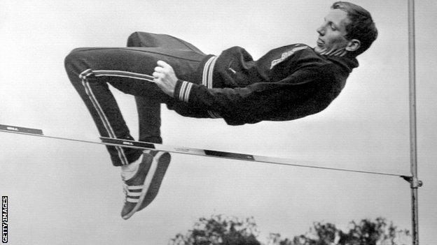 Fosbury flop high jump technique