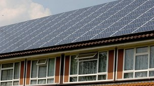 Solar panels on an old people's residential home in Bisley, Surrey