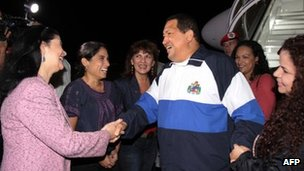 Venezuelan President Hugo Chavez (centre) on his arrival in Caracas on 26 April
