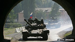Russian tanks during conflict with Georgia