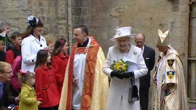 The Queen leaving Llandaff Cathedral