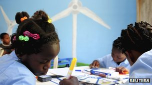 Children and wind turbine