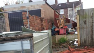 Damage to a house in Rugby after high winds hit on Wednesday