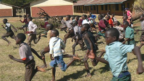 Children running in a race in Iten, Kenya