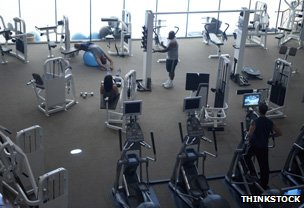 People exercising in a fitness centre