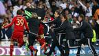 Bayern Munich players celebrate after the Uefa Champions League semi final