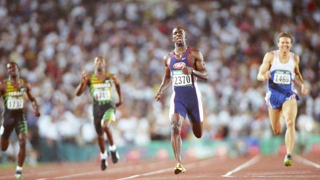 American Michael Johnson winning the 400m in Atlanta, 1996