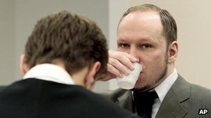 Anders Behring Breivik in court in Oslo, 26 April