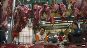 A beef stall in Jakarta, Indonesia, Thursday, April 26, 2012.