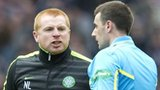 Neil Lennon confronts referee Euan Norris