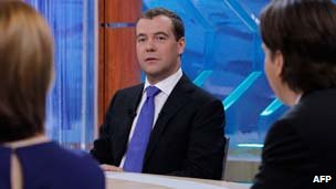 Dmitry Medvedev in TV studio