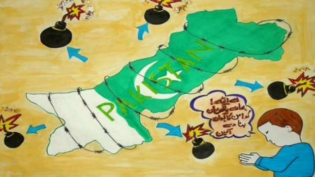 Poster made by a Pakistani child
